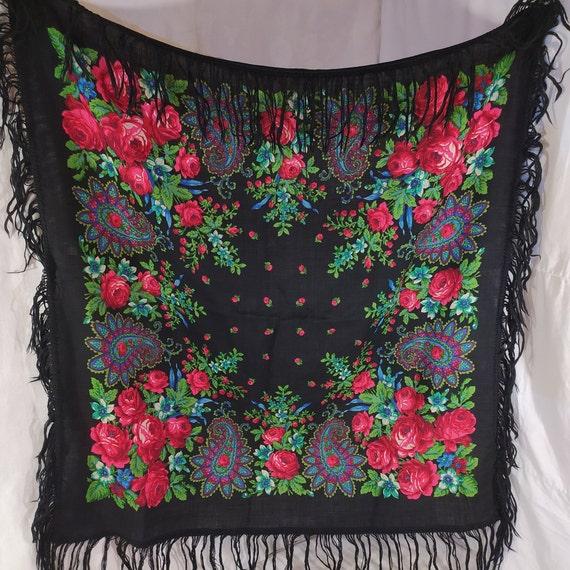 Old floral print shawl, soviet floral print shawl,