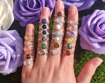 Wire Wrapped Gemstone Rings, Natural Gemstones, Crystal Ring, Healing Crystal Jewellery