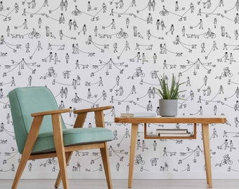 Black and White Dog Peel and Stick Removable Wallpaper 4661