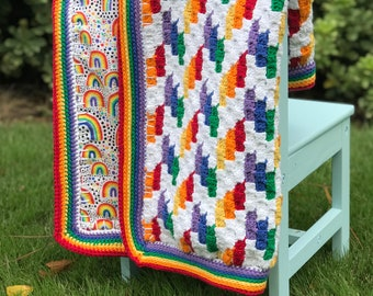 Rainbow Chevron Reversible Blanket Crochet Pattern