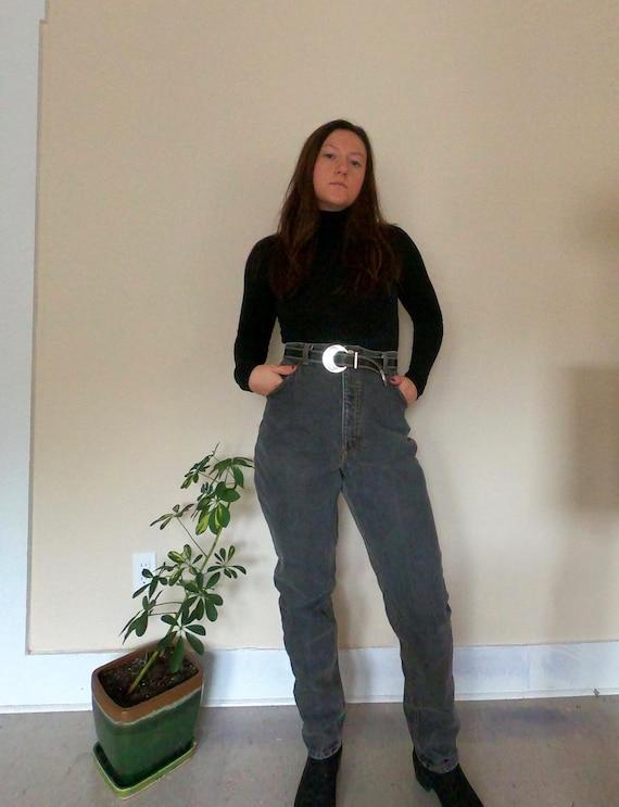 Vintage 80's Bootcut High Waisted Black Jeans|Vint