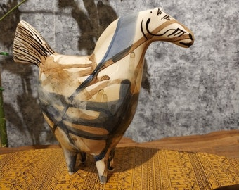 Abstract Collection piece Hand-carved Ceramic Pregnant Smiling Horse Figure