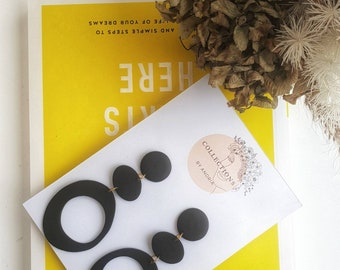 Drop Earrings Surgical Steel Earrings Statement Earrings Handmade Polymer Clay Earrings Black Earrings with gold fixings