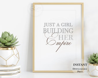 Empire Girl Boss   Chic DIGITAL PRINTS   Rose Gold Wall Art   Grey Girly Art Print