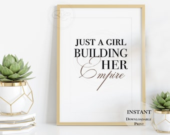 Girl Boss Empire   Chic DOWNLOAD   Monochrome Quote   Rose Gold Wall Art