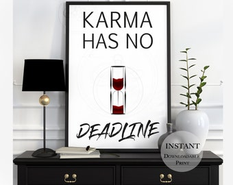 Karma Print Quote Definition   Affirmation DOWNLOAD   Hour Glass   Egg Timer