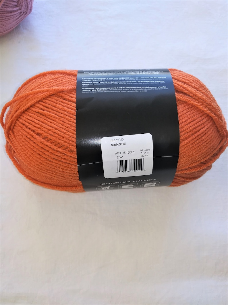 Mango~No dye lots Peacock Blue Daffodil Yellow Red Heart with LOVE Yarn 6 oz315 yds Soft Acrylic 1 Ball YOU CHOOSE: Cameo Pink