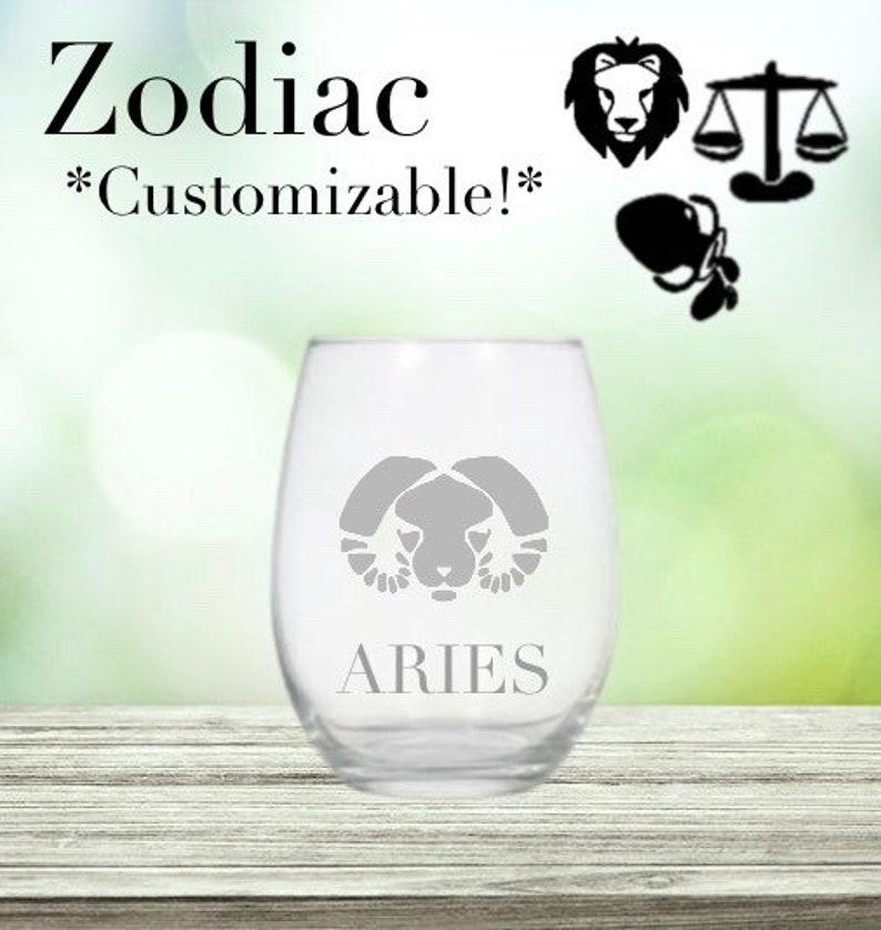Zodiac Custom etched wine glass Horoscope sign glass image 0
