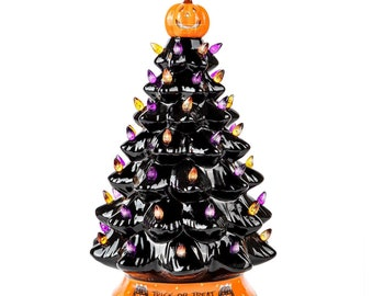 RJ Legend 15-Inch Or 9-Inch Ceramic Tree Decoration - Multicolor Bulbs - Christmas Tree and Halloween Tree - Handcrafted and Hand Painted
