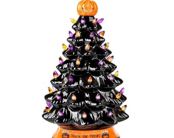 RJ Legend 15-Inch Or 9-Inch Ceramic Tree Decoration - Multicolor Bulbs - Black Tree - Handcrafted and Hand Painted - Glossy Finish