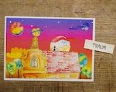 Universe Grass Paper Postcard Sustainable Regional Climate Neutral Natural Colors Vegan