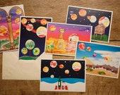 Set of 6 Grass Paper Postcards Universe Watercolor Planets