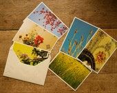 Set of 6 grass paper postcards sustainable