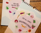 All-year seasonal calendar for fruit and vegetables environmentally friendly from grass paper