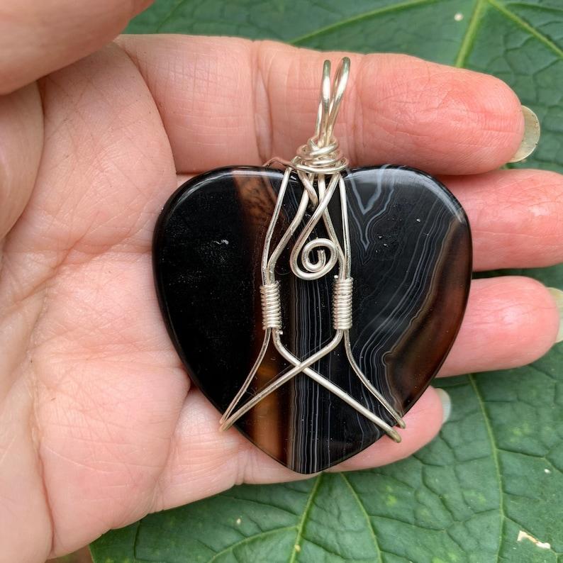 Reversible. Translucent Chocolate Heart Quartz wire wrapped pendant