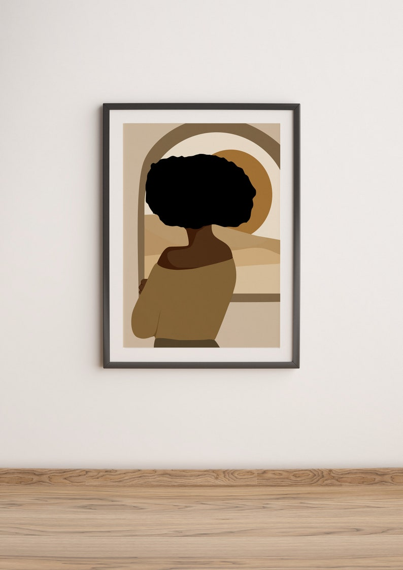 Female Portrait Mid Century Abstract Abstract Afro Hair Black Girl Art African Hair Print Afro American Fashion Art Afro Woman Art