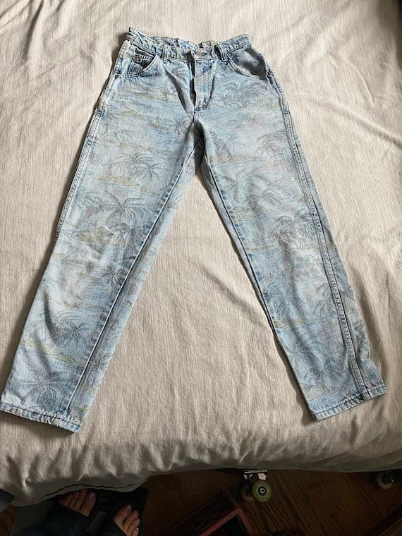 Vintage 70s Hawaiian Print Girl's Wrangler Jeans