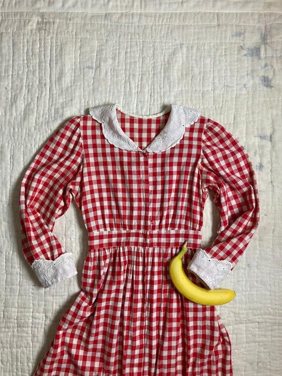 1920s Gingham Chore Dress