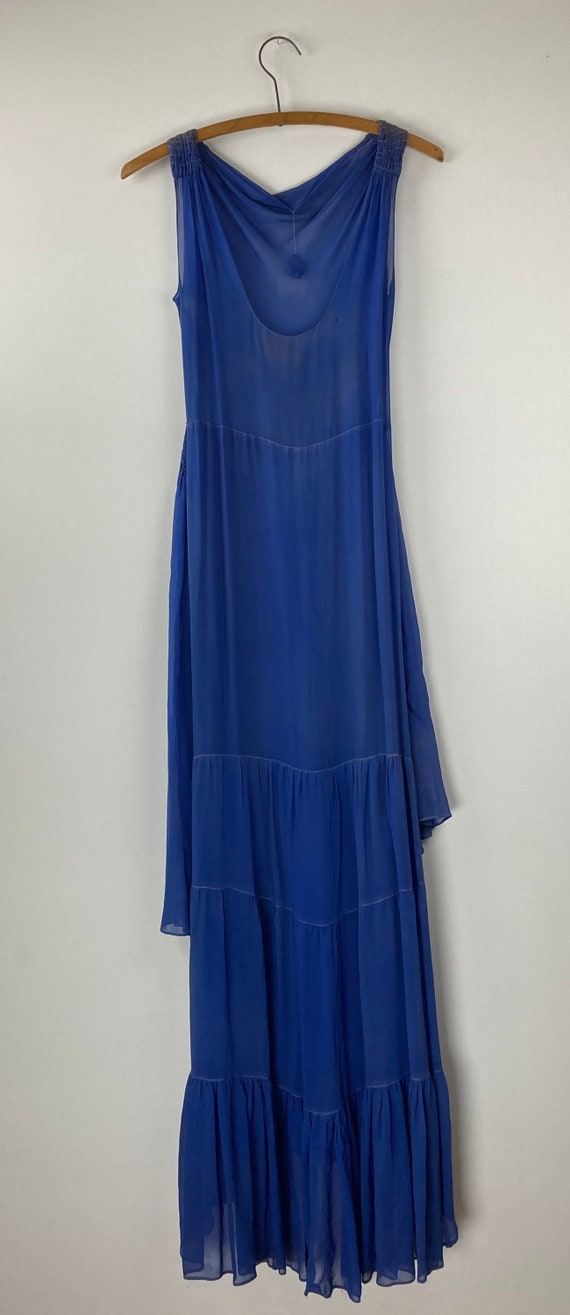 1920s Royal Blue Silk Chiffon Dress - image 4