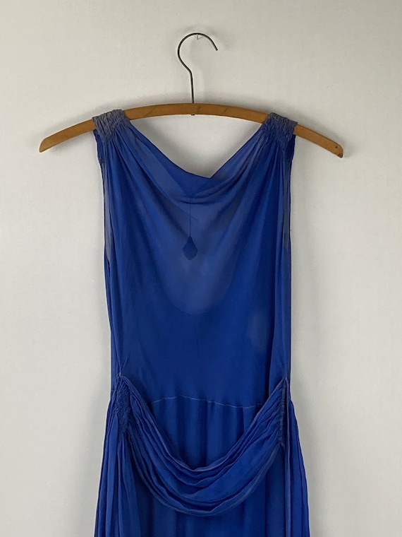 1920s Royal Blue Silk Chiffon Dress - image 1