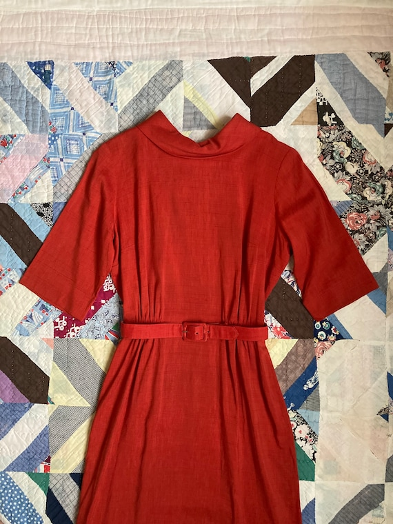 1960s Stunning Tomato Red Cotton Day Dress