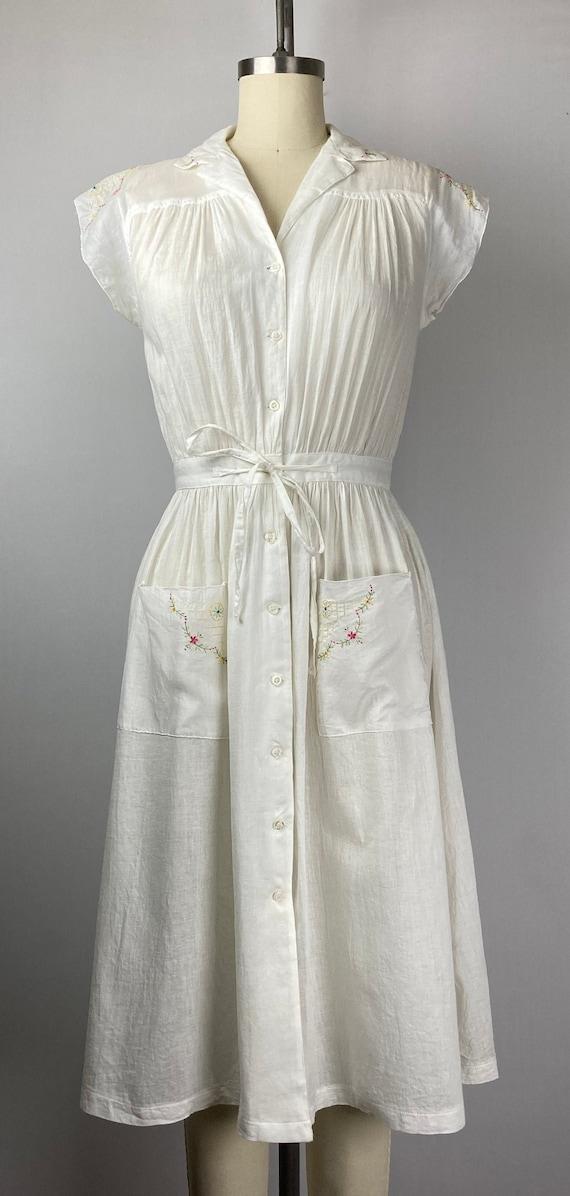 Vintage 1940s Cotton Voile Day Dress