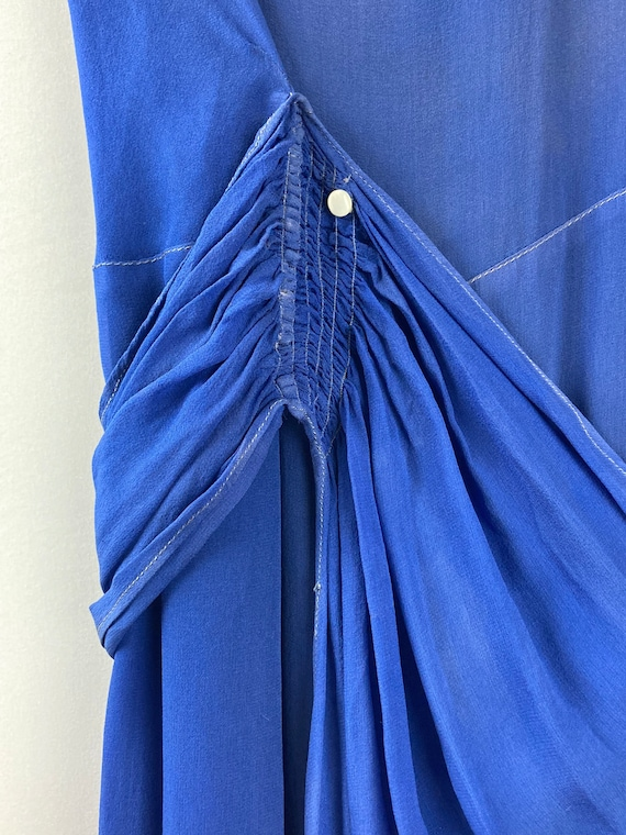 1920s Royal Blue Silk Chiffon Dress - image 8