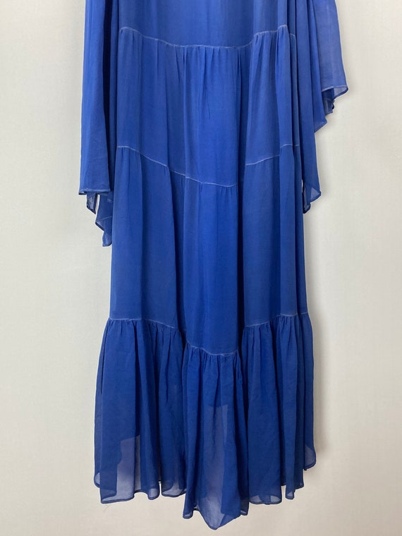 1920s Royal Blue Silk Chiffon Dress - image 9