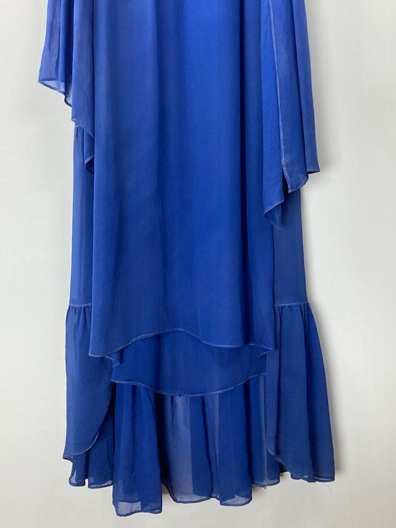 1920s Royal Blue Silk Chiffon Dress - image 3