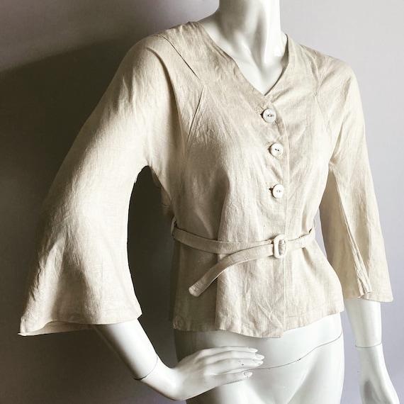 1930s Linen Jacket MOP Buttons & Buckle