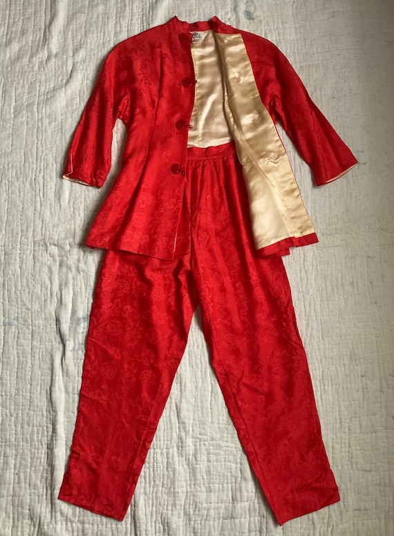 1950s Silk Lounge Wear Set | Pajama Set | Made in