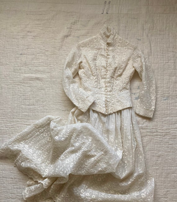 Authentic Late 1800s Hand Embroidered Walking Suit