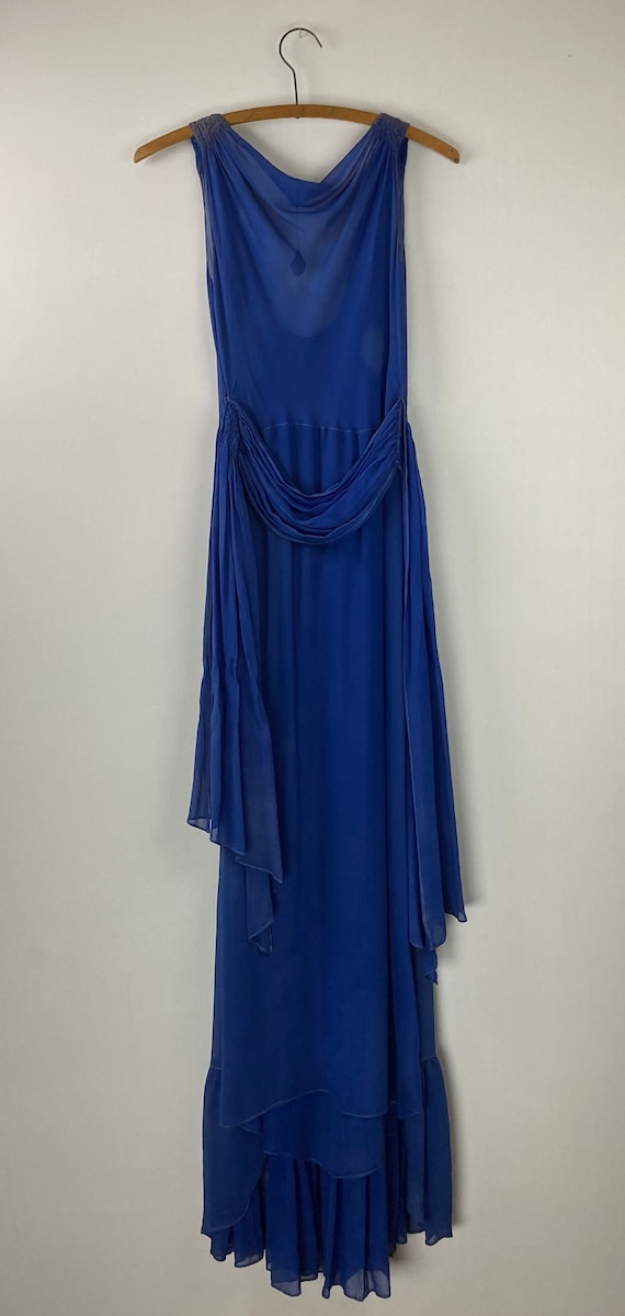 1920s Royal Blue Silk Chiffon Dress - image 2