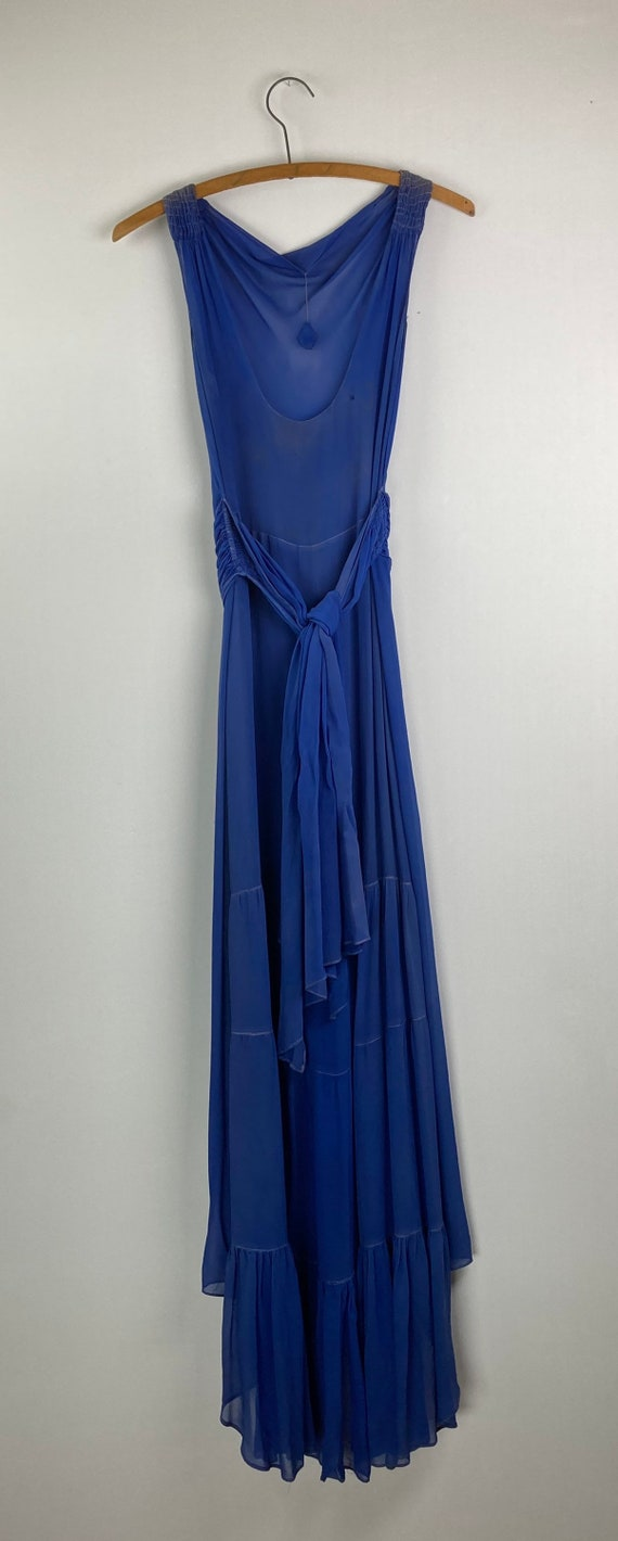 1920s Royal Blue Silk Chiffon Dress - image 5