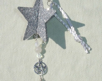 Gemstone Beaded Star Yule Ornament with Pentagram and Clear Quartz - Handcrafted