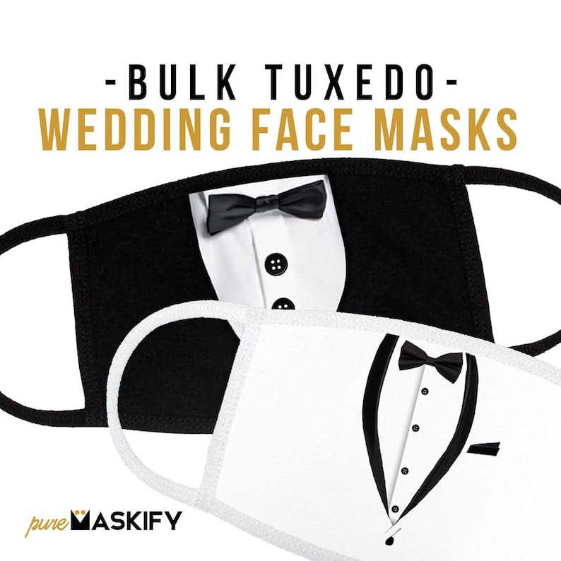 Black Tuxedo Printed Face Mask-High Quality Elegant Face Mask image 0