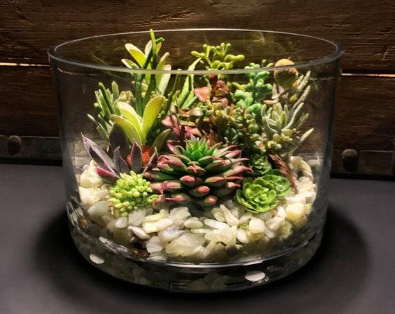 Jade Low Round Dish Faux Succulent Glass Terrarium