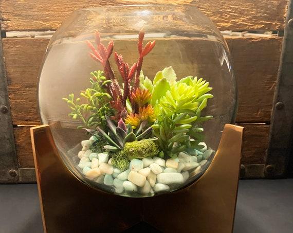 Amazonite Copper Cross Base Faux Succulent Glass Terrarium