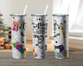 Sewing Quilting Crafting png, Crafting each day keeps the crazy away, Skinny Tumbler wrap 20 oz PNG, Digital download, Sublimation png