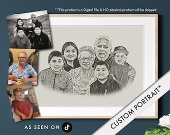 Custom Family Digital Portrait (Combine Multiple Photos)   Sketch   Drawing   Custom Wall Prints   Combine Images   Merge   Printable