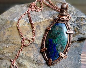 Azurmalachite copper pendant