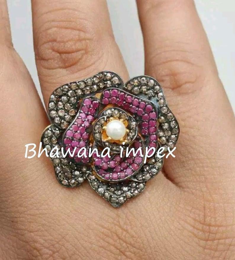 Ruby Ring Diamond Ring Natural Rose cut Pave Diamond Ruby Silver Victorian Ring Handmade Silver jewellery 925 Sterling Silver Ring jewellery