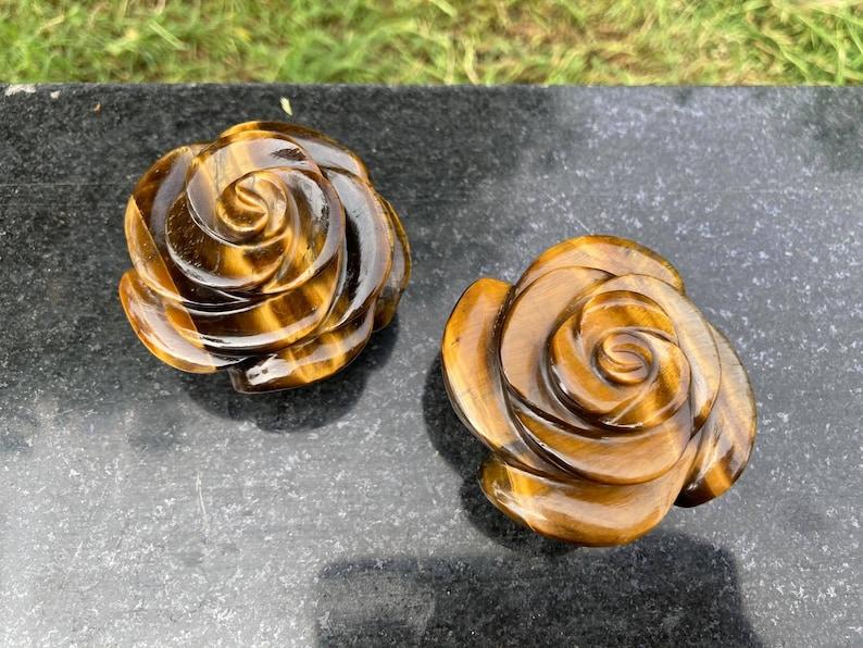 2pcs Tiger eye rose carving Tiger eye crystal carving handcrafted crystal carving home decor Gemstone flower carving,handcarved Tiger eye