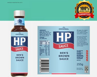 HP Sauce Label, Custom Label, Birthday Gift, Christmas Gift