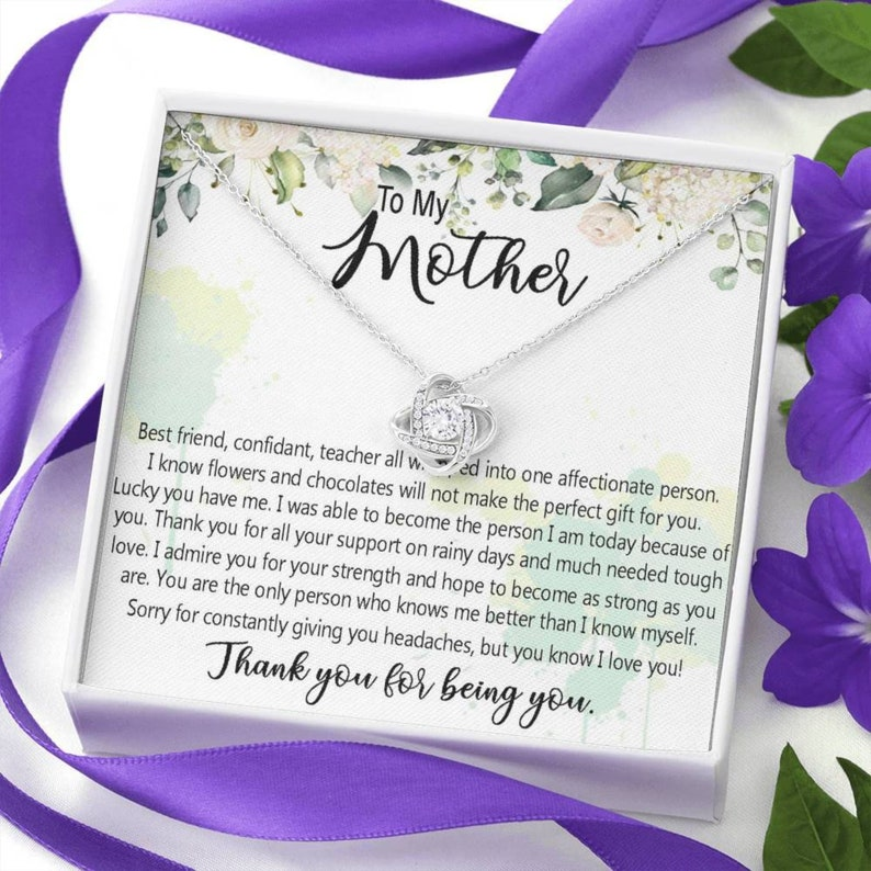 Mother/'s Day Necklace Gift Birthday Jewelry Gift for Mom from Daughter Son To My Mom Love Knot Necklace Custom Name Card