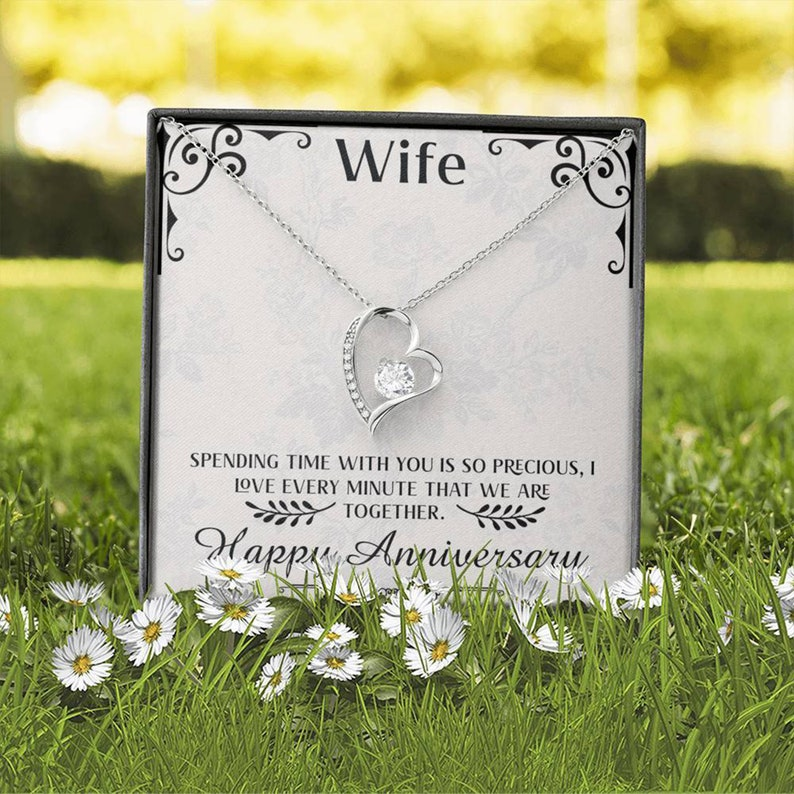 Anniversary Gift Necklace for Wife Jewelry Gift for Wife from Husband Wife Gift with Message Card Forever Love Necklace
