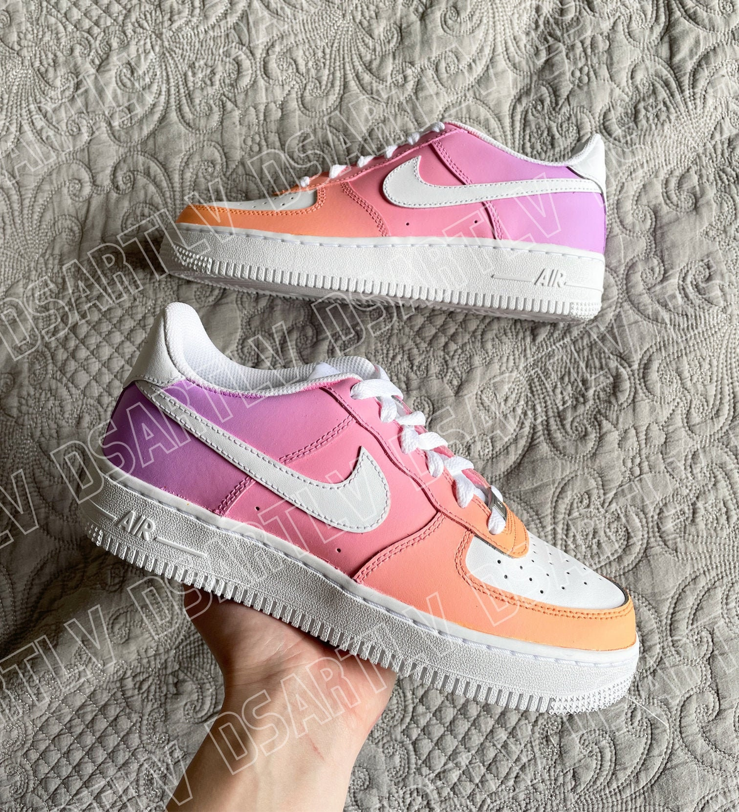 Nike Air Force 1 Custom Sneakers Gradient Ombre Sunset