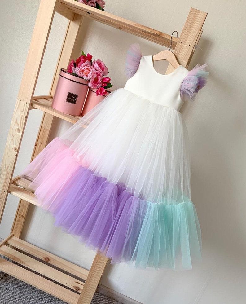 Unicorn Costume,Luxury Unicorn Dress,Flower Birthday Outfit,Baby Party Cloth,Rainbow Girl Dress Unicorn Babygirl Costume,Unicorn Dress