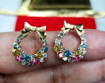Small Colorful Rhinestone Crystal Earrings
