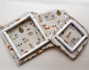 Project Bag for cross stitch, qsnap, hoops, needlework, embroidery - Woodland animals